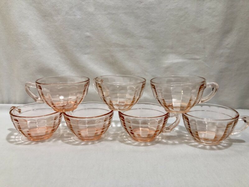 Lot of 7 Anchor Hocking Block Optic Pink Depression Glass Coffee Cups Teacups