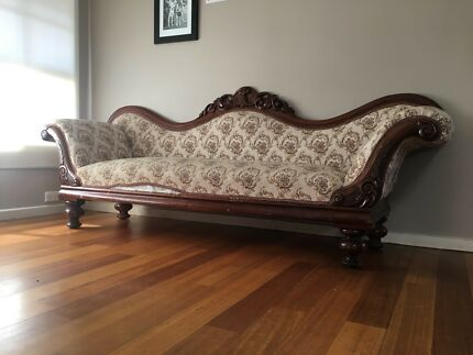 Victorian solid carved timber frame lounge