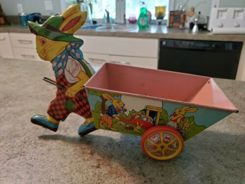 RARE LARGE Vintage Tin Litho Toy Easter Bunny Rabbit Pulling Basket J CHEIN USA