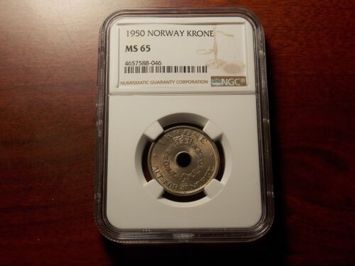 1950 Norway 1 Krone coin NGC MS-65