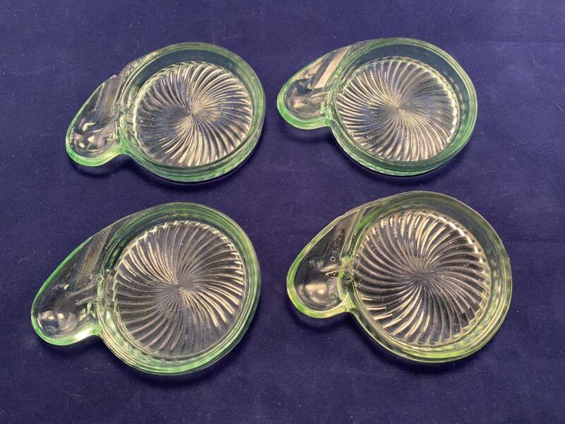 FOUR MacBeth Evans Green SWIRLED OPTIC Depression Glass Coasters w Spoon Rest