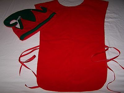 EUC CHRISTMAS ELF COSTUME 2 pc Red Vest & Hat  Teen or Adult OS  Free Shipping