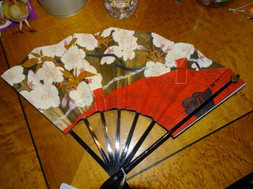 Japanese hand painted double sided Paper hand held fan