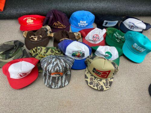 Vintage Trucker Hat Lot Patch Snapback Cap Mesh Tractor USA Farm Hunting VTG