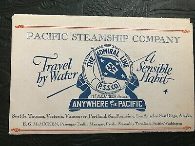 Pacific Steamship Company The Admiral Line SS Dorothy Alexander Foldout Menu for sale  College Grove