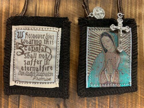 Our Lady of Guadalupe Brown Scapular, 100% Wool, Comes with Enrollment Papers