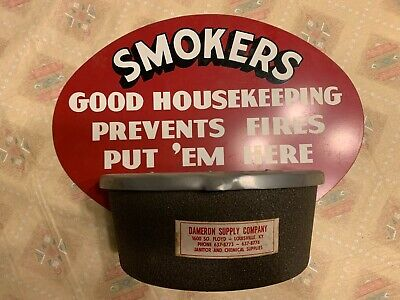 Vintage NOS Smokers Good Housekeeping Sign Ashtray Metal Cast Aluminum New Old