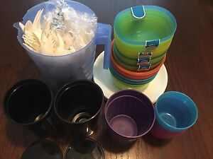Plastic jug, cups, plates, bowls & utensils - great for camping