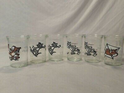 Welch's Jelly Jar Glasses ~ Lot of 6~ Tom & Jerry Vintage 90s