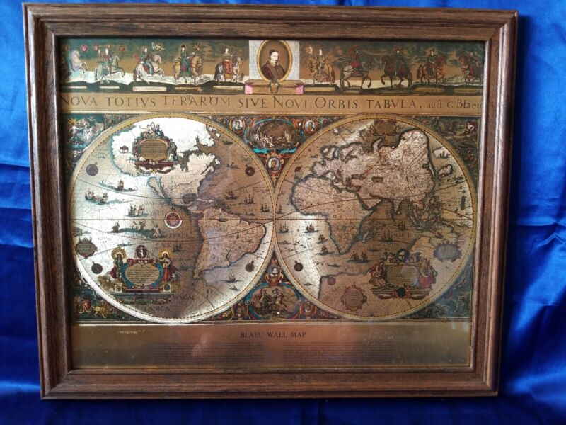 Blaeu Wall Map Gold Foil 1776 FRAMED