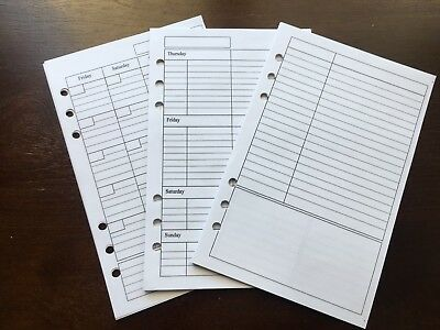 WEEKLY MONTHLY NOTES Undated Refill for A5 6-Ring Planner Organizer Inserts 6-ring-planner Refill