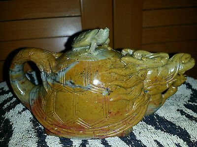 Vintge Chinese Shou Shan Soapstone Dragon teapot wine p Seal Stamp Signet Statue