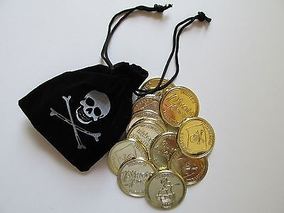 12 Suede PIRATE BAGS & GOLD COINS treasure loot skull and crossbones theme - Pirate Loot Bags