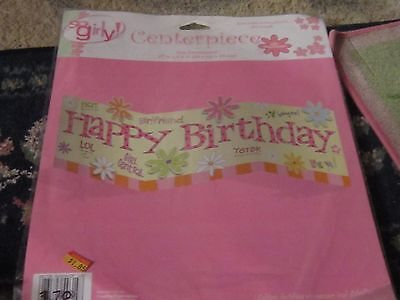 Girly Party Decorations (NEW NIP Happy Birthday pink party centerpiece table top decoration long)