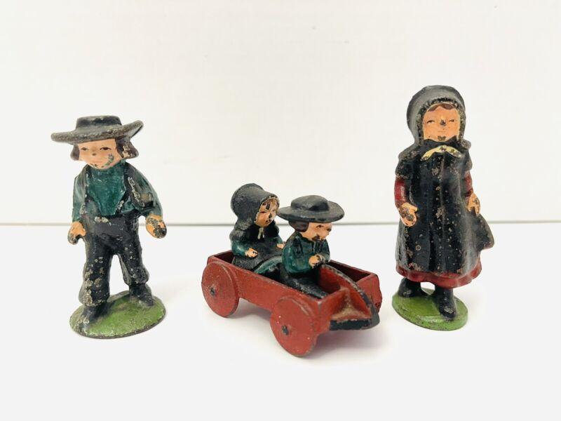 Vintage Wilton Cast Iron Amish 5 Piece Family Wagon Figures