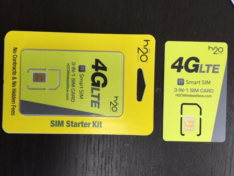 H2O SIM Card (Mini, micro, nano) AT&T network prepaid
