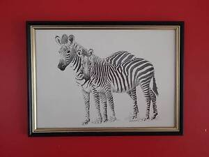 Zebras ink on paper 1987 by Benjamin Mibenge Carrara Gold Coast City Preview