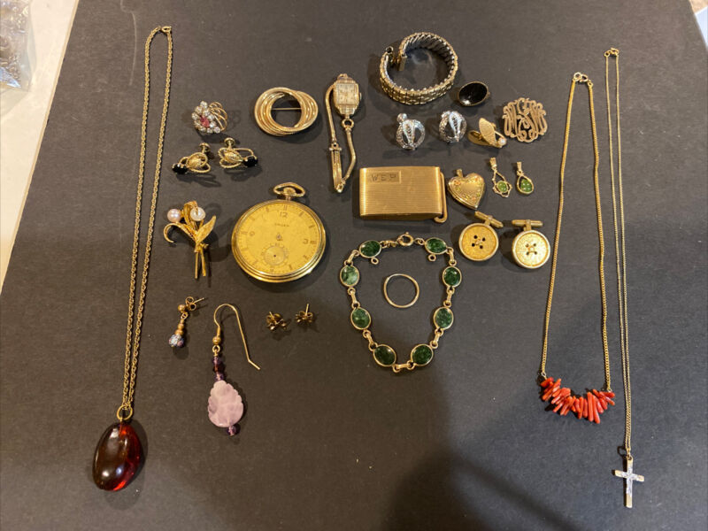 Vintage Gold Filled Lot 150g - Necklaces; Watch; Earrings; Mixed Lot For Scrap