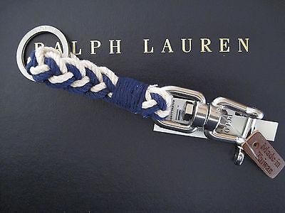 NEW RALPH LAUREN Polo Swivel Pin Blue Braided Key Chain Keychain Key Ring FOB