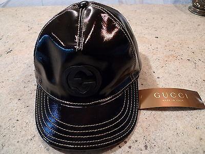 6f500628999 GUCCI GG LOGO MEN S BLACK PELLE LEATHER BASEBALL CAP ITALY ...