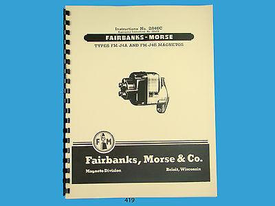 Fairbanks Morse Magneto Instruction Parts Manual For Fm-j4a Fm-j4b Mags 419