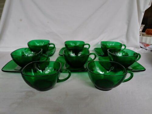 Vintage Anchor Hocking Green Charm Glass Set of 6 Cups and Saucers