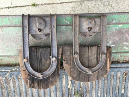 2 OLD STEEL BARN TRACK DOOR ROLLER