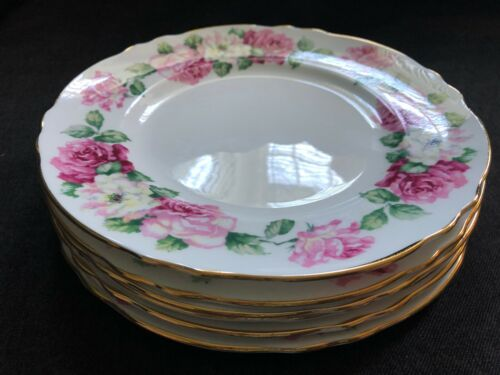 Vintage CROWN STAFFORDSHIRE Plates 6pcs TRINITY ROSE Bone China England