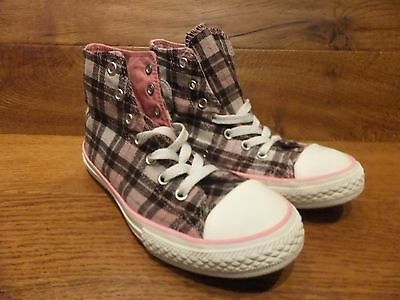 Girls  Converse CT All Star Pink Tartan Cloth Hi Top Trainers  Size  12k /  30 (Girls Converse Clothes)