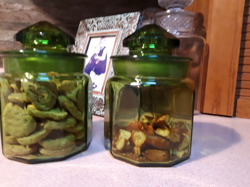 ANTIQUE Green Glass (2) Set APOTHECARY JARS -7 inches.  Medical SUPPLY CANISTERS