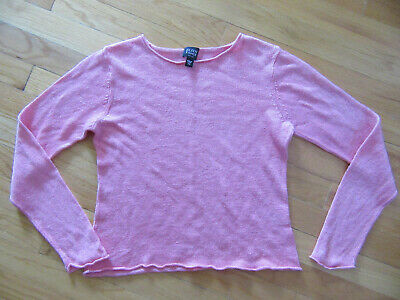 Eileen Fisher Pink Long Sleeve Linen Sweater Size PP