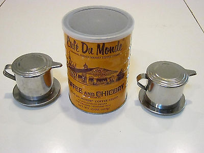 Cafe Du Monde 15oz coffee & 2 French style coffee filter makers-present- gifts Cafe Du Monde French Coffee