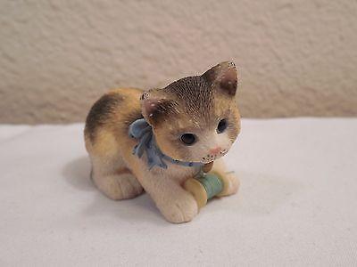 "Miniature 1997 Enesco Priscilla Hillman ""Calico Manx"" Cat Kitten Resin Figurine"