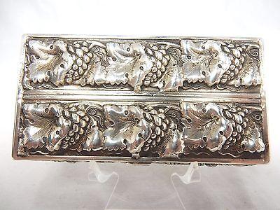 Schöne alte Tabatiere aus der Schweiz 925 Silber Weintrauben & blätter & Ähren