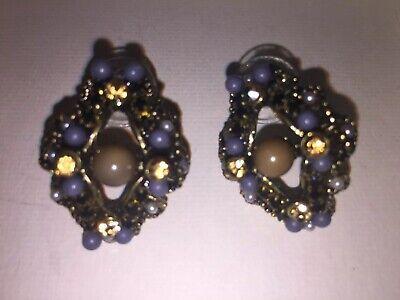 - Vintage Victorian Style Crystal Rhinestone Glamour Earrings Pierced Brown Blue