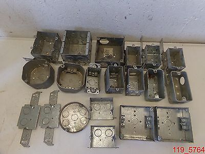 Mixed Lot Of 20 Steel City Raco Electrical Box 1 Gang 2 Gang Ceiling Light Rnd