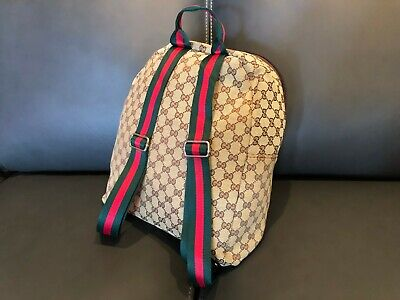 New Gucci Canvas Backpack with Signature Web Straps