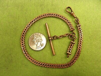 FABULOUS VTG ANTIQUE VICTORIAN ROSE GOLD FILLED CURB LINK POCKET WATCH FOB CHAIN