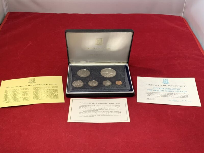 1974 British Virgin Islands Proof Set Minted At The Franklin Mint With COA