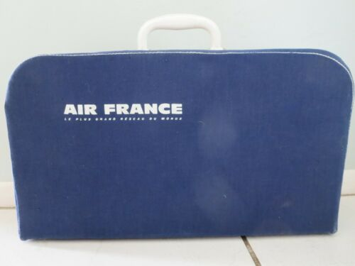 vintage Air France canvas suitcase carry on