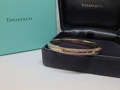 Tiffany & Co. 18k Rose Gold and Diamonds T Two Hinged  Bracelet