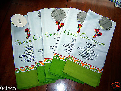 Dii For The Home Guacamole Guac Recipe Kitchen Towel 100  Cotton Nwt New Tags 1