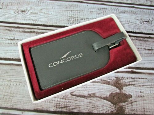 Vintage CONCORDE British Airways Genuine Leather LUGGAGE TAG England Boxed New