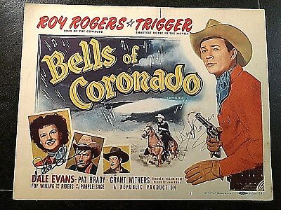 BELLS OF CORONADO R-1956, SIGNED TITLE LOBBY CARD, ROY ROGERS, DALE EVANS