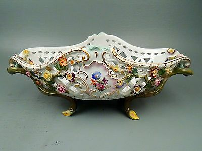 19th Century Meissen Porcelain Floral Encrusted Ptd Centerpiece Basket - DH PC