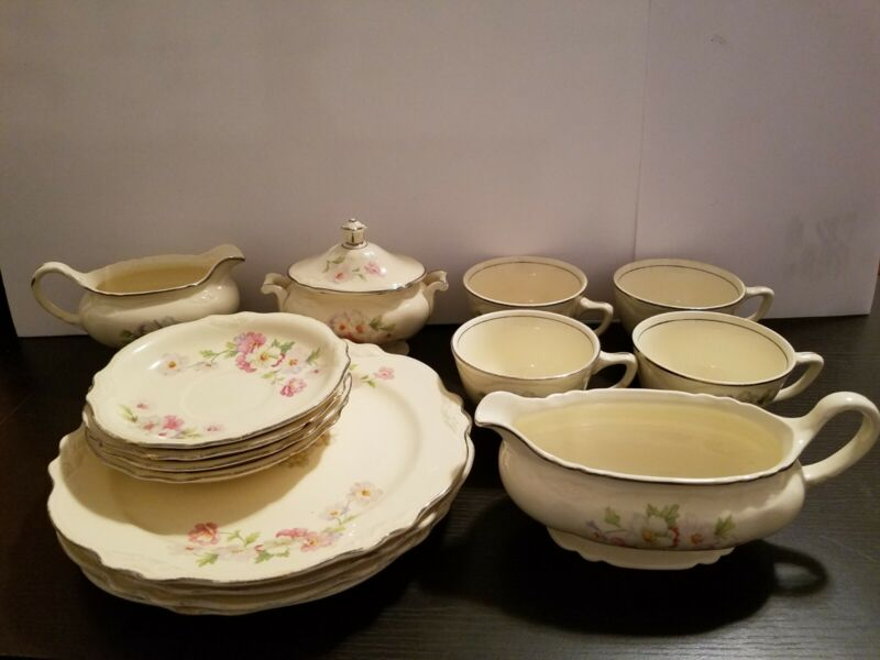 40s Homer Laughlin VIRGINIA ROSE 15pc Set Sugar, Creamer, Plates, Cups, Saucers