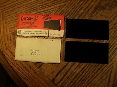 Vintage Pair Cescoweld Arc Welding Lenses 4-14 X 2 Shade No. 12