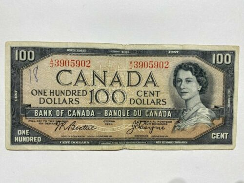 1954 CANADIAN $100 Banknote.