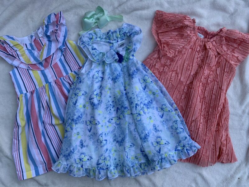 Lot Of Three Easter Dresses Baby Toddler Girl 18 Months With Headband Euc