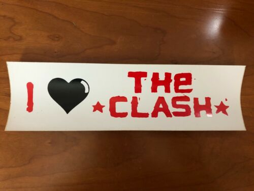 I Love THe CLASH Vintage Unused Vinyl Bumper Sticker Punk Rock